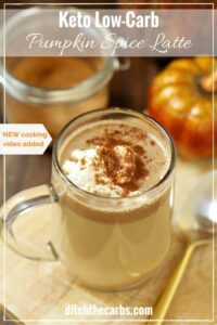 Ah-mazing easy keto low-carb pumpkin spice latte. NEW quick cooking video just added. | ditchthecarbs.com