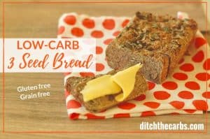 THIS IS IT!!! The famous low-carb 3 seed bread that kiwis and Aussies are raving about. Perfect with melted butter and vegemite or marmite. Gluten free, grain free and super easy recipe to make. | ditchthecarbs.com