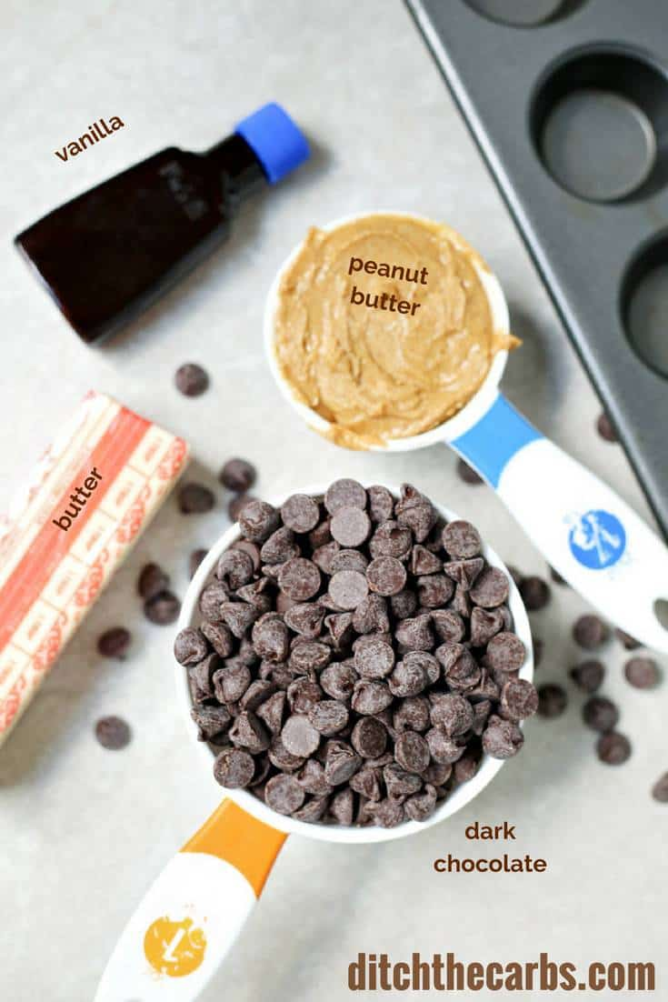 OMG - salted low-carb peanut butter cups AND there's a quick cooking video to watch so you can't mess these up. Seriously the best peanut butter cups out there. Low carb, sugar free, gluten free, grain free, healthy, keto. | ditchthecarbs.com