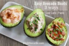 Easy Avocado Boats - 3 ways. Tuna mayo, prawn cocktail and baked egg with bacon bits. Keto, Paleo low-carb recipe heaven. | ditchthecarbs.com