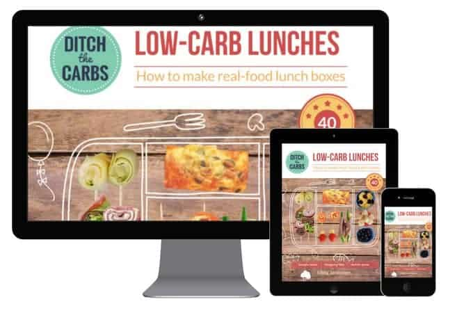 Low Carb Lunches - how to make real-food lunch boxes. 40 easy recipes, 5 step programme, easy real food swaps chart, lunch box planner, printables and even an FAQ for children. Shopping lists, easy to understand guides. | ditchthecarbs.com