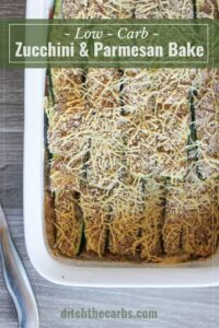 Stuck for healthy recipe ideas for low-carb vegetable sides on a low-carb diet? Zucchini and parmesan bake with an almond crust is just simply perfect. Such an easy recipe but it will bowl over your friends by how delicious it is. | ditchthecarbs.com