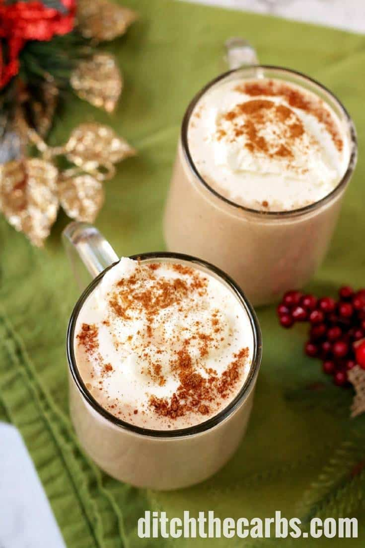 Indulgent and creamy sugar-free low-carb eggnog with brandy (optional). It is the perfect healthy recipe for the festive season to indulge and enjoy, with friends. | ditchthecarbs.com