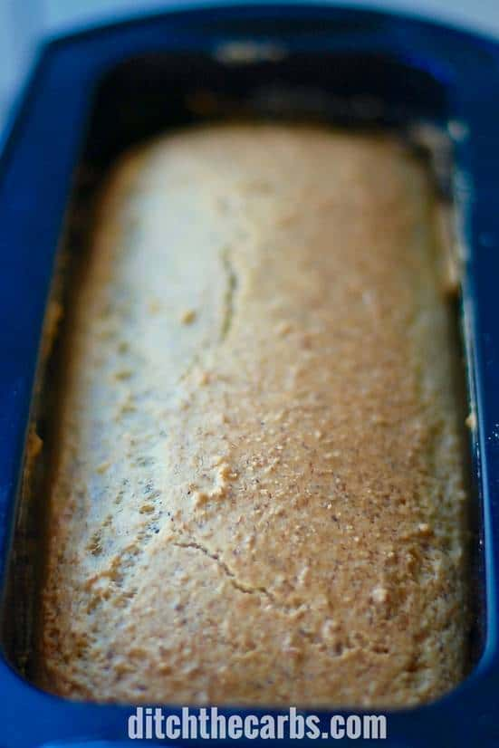 low-carb almond flour bread in silicon loaf tin