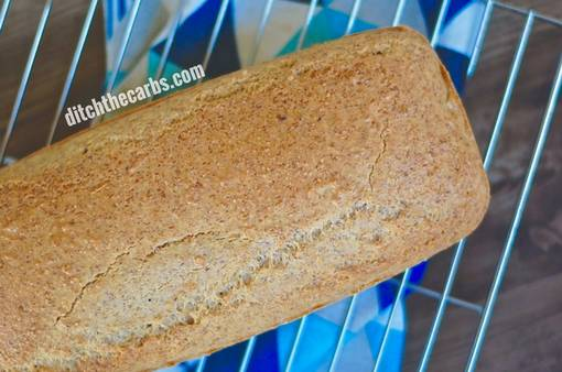 low-carb almond flour bread on cooling rack
