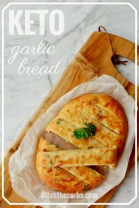 The BEST recipe for cheesy keto garlic bread - using mozzarella dough. #lowcarb #keto #glutenfree #LCHF #sugarfree #healthyrecipe