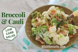 Low-carb bacon broccoli cauliflower salad recipe #baconsalad #keto #lowcarb #keto #glutenfree #lchf