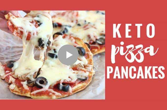 How to make insane keto pizza pancakes with mozzarella dough. #keto #grainfree #ketopizza #glutenfreepizza #mozzarelladough