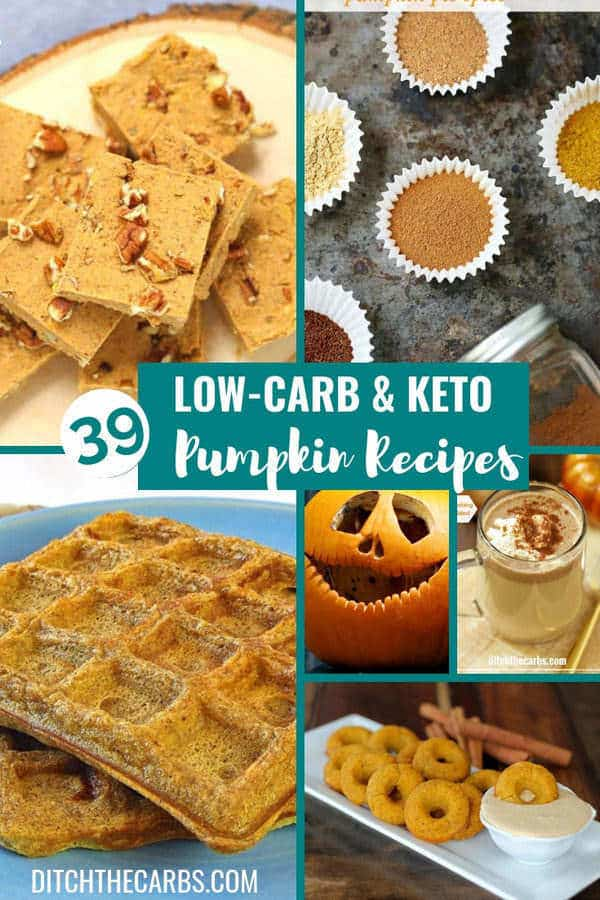 Keep this one!!! 39 of the Best Low-Carb and Keto Pumpkin Recipes. Sweet, savoruy, drinks and homemade pumpkin pie spice latte. #keto #healthyrecipes #healthypumpkinrecipes #glutenfree #sugarfree #lowcarb #lowcarbpumpkin #healthyhalloween