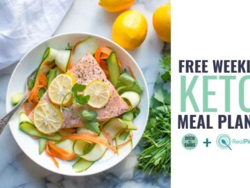 Free keto weekly meal plan showing a salmon steak