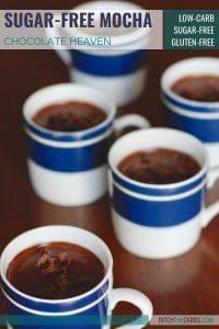 Sugar-free mocha cups. You can enjoy a chocolate and coffee sweet treat and stay on track! #sugarfree #chocolate #mocha #sugarfreechocolate #healthydessert #lowcarbmocha #lowcarbdessert #healthydessert