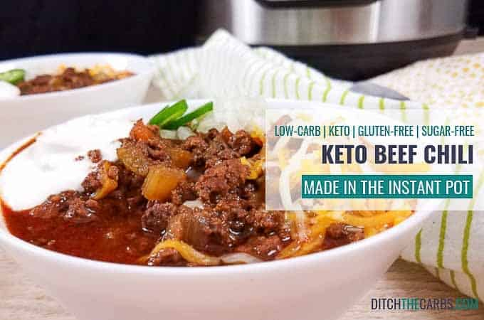 Instant Pot Keto beef chili. An old family recipe that is healthy AND amazing. #ketoinstantpotbeefchili #ketoinstantpot #ditchthecarbs #lowcarbinstantpot #keto #glutenfree #sugarfree #healthyrecipes #familymeals