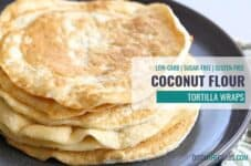 Watch how to make coconut flour tortilla wraps - even if you're not low-carb. They are the perfect easy low-carb gluten-free wrap for a healthy lunch/dinner. #coconutlflourtortilla #coconutlflourwrap #coconutlflourbread #glutenfreetortilla #lowcarbtortilla #ketotortilla