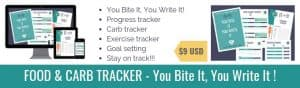 This works! Food And Carb Tracker. Progress tracker. Exercise tracker. Printable pages. #carbtracker #macrotracker #carbcounting #ketocalculator