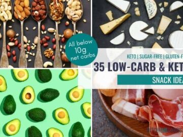 best low-carb snacks collage showing nuts and cheese