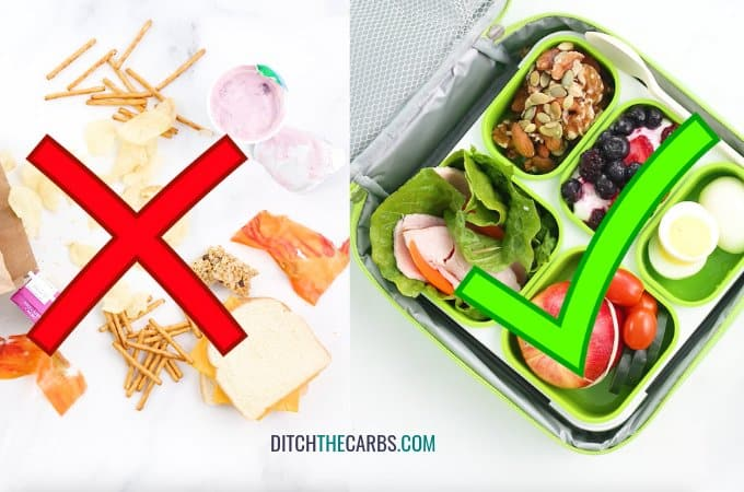 two lunch boxes side by side showing a regular lunch box next to a low-carb lunch box