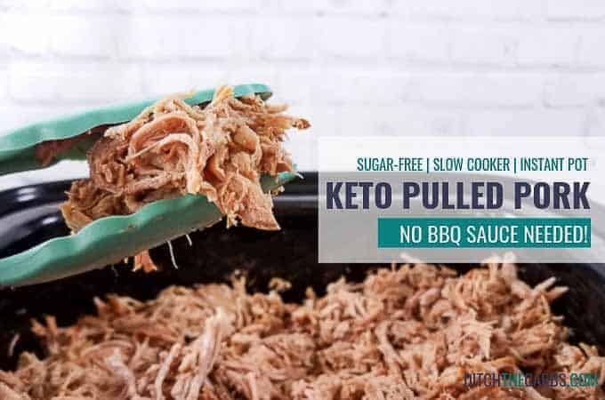 The SECRET method to making EASY keto slow cooker pulled pork recipe - the famous prep and forget meal. No bbq sauce is needed!  #ketoslowcookerpulledpork #slowcooker #pulledpork #ditchthecarbs #lowcarb #keto #glutenfree #sugarfree #healthydinner #ketofamilymeals