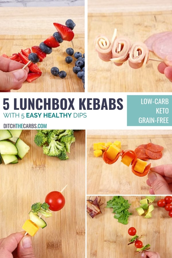 5 easy healthy lunchbox kebabs and dips are the secret to making quick and easy healthy lunchboxes. #lowcarb #keto #lowcarbfamily #ketofamily #lowcarblunchbox #healthylunchbox #easyhealthylunchbox #lunchbox #ditchthecarbs #glutenfree #sugarfree #healthyrecipes #familymeals