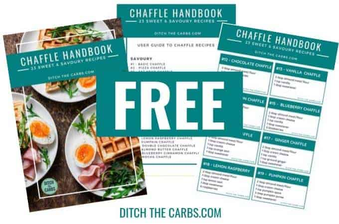 Free Chaffles Cookbook Plus VIDEO + FREE Handbook.
