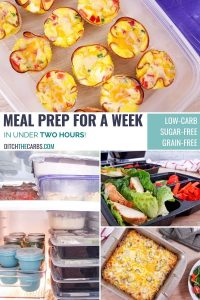 Wow! You can meal prep for an entire week in under 2 hours! #MealPrepForAWeek #mealprepping #ditchthecarbs #lowcarb #keto #glutenfree #sugarfree #healthyrecipes #familymeals