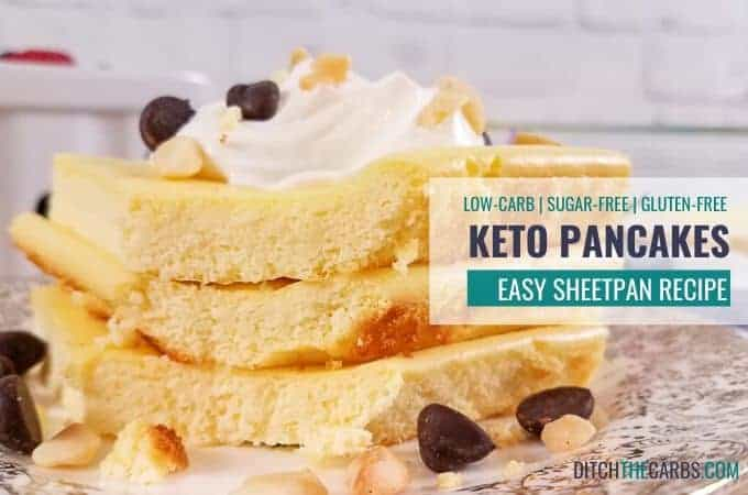 Sheet Pan Keto Pancakes served with whipped cream and choc chips
