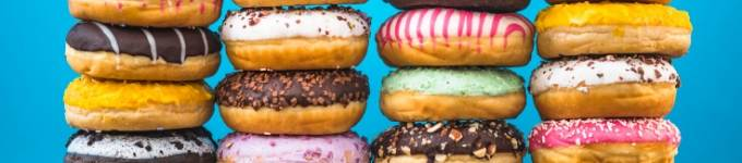 banner showing donuts stacked up