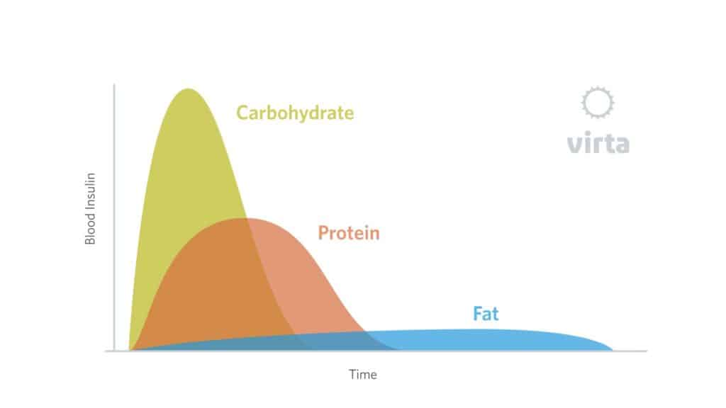 chart showing how your body absorbs fat, protein, and carbs.
