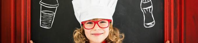 banner showing child in a chef's hat