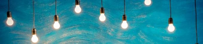 lightbulbs with a blue background