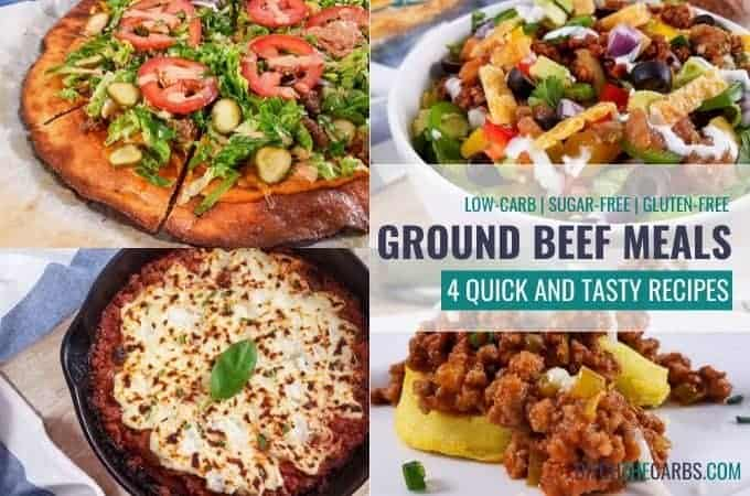 featured image for low-carb ground beef meal prep collage