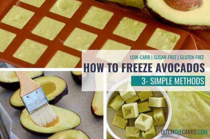 showing 3 ways to freeze avocados