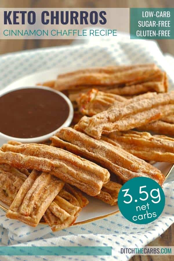 Keto Cinnamon Churro Chaffles served on a plate with chocolate dipping sauce