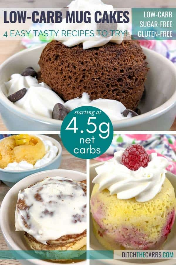 Four different low-carb mug cakes in light blue bowls.