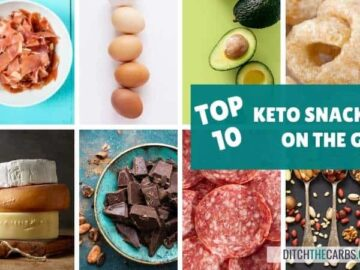 10 Keto Snack Ideas on the go chart and collage of images