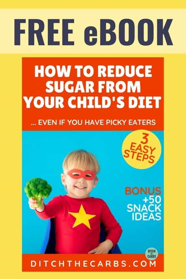 "cover page for the free eBook ""How to reduce sugar from your child's diet"""