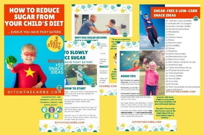"collage of cover page and inside pages for the free eBook ""How to reduce sugar from your child's diet"""