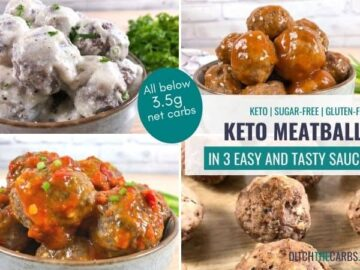 Keto meatballs being served in a sweet and sour sauce, a creamy goat cheese sauce, and a spicy garlic sauce.