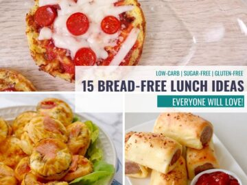collage of bread free lunch ideas like pizza chaffle, salmon bites, sausage rolls