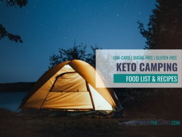 Keto camping food list with image of tent