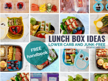 collage of containers showing 1-month low-carb lunch ideas for kids