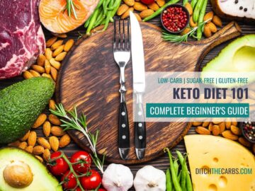 What is a keto diet? The complete beginner's guide showing keto food with a knife and chopping board