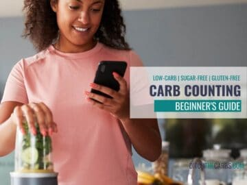woman looking confused on her phone while carb counting