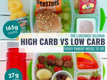 comparing 2 lunch boxes with their carb count to show low-carb lunches are heathy