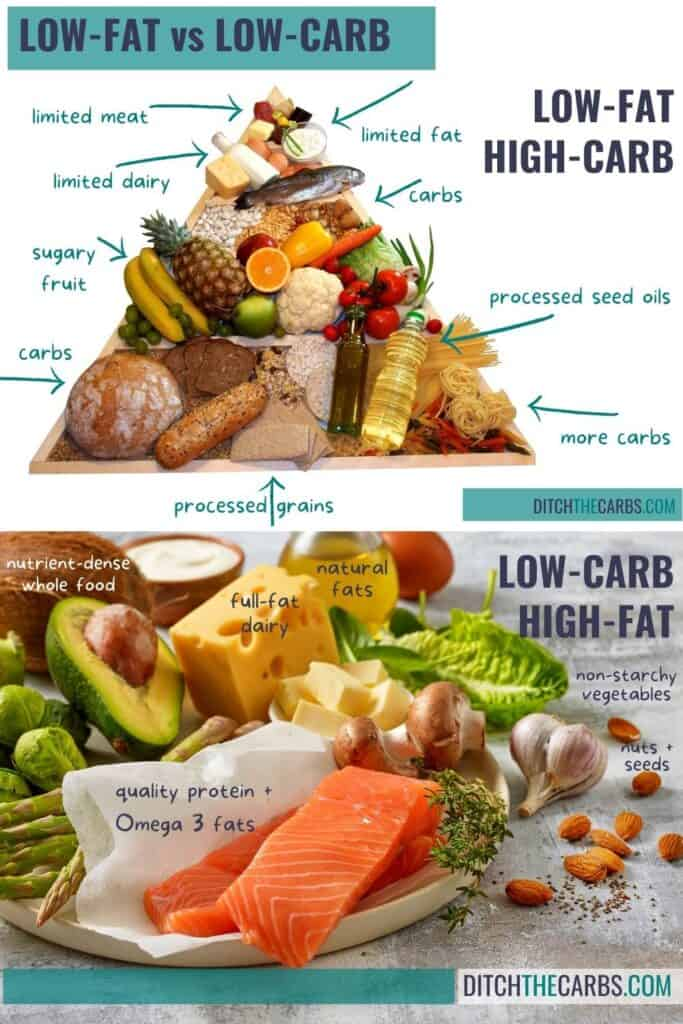 low carb vs low fat diet showing 2 different food pyramids