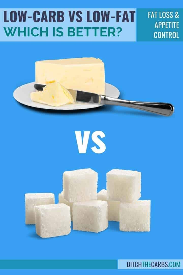 low carb vs low fat diet showing sugar versus butter on a blue background